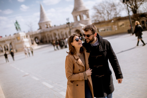 Loving couple by the Fisherman's Bastion in Budapest, Hungary